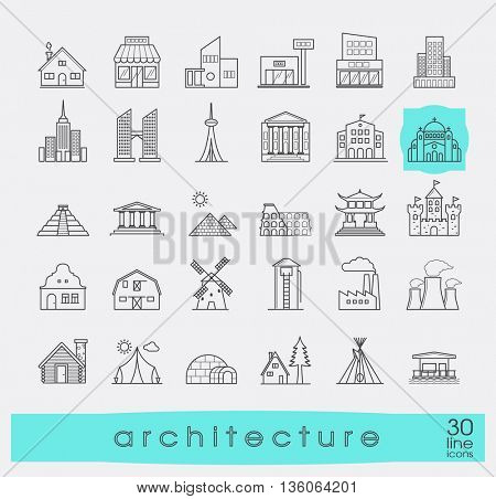 Постер, плакат: Buildings and architecture icons set Various styles and building purposes Buildings for living and, холст на подрамнике