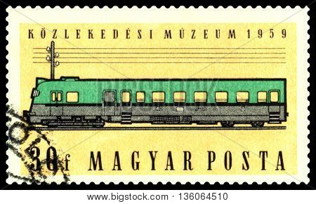 STAVROPOL RUSSIA - June 03 2016: A Stamp printed in Hungary shows Diesel coach circa 1959