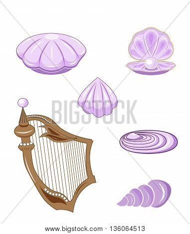 set of sea lilac cockleshells and harp