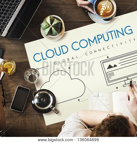 Network Cloud Backup Storage Download Concept