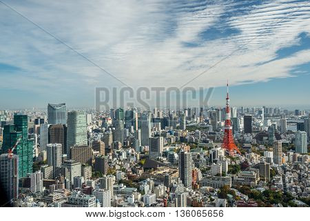 Tokyo Japan - November 21 2015:View of Tokyo tower in the Kanto region and Tokyo prefecture Japan the first largest metropolitan area in Japan. Downtown Tokyo is very modern with many skyscrapers.