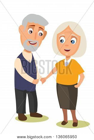Grandmother and grandfather holding hands. Vector flat color illustration isolated on background.