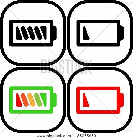 Set of symbol battery color icon - vector, flat design. Eps 10