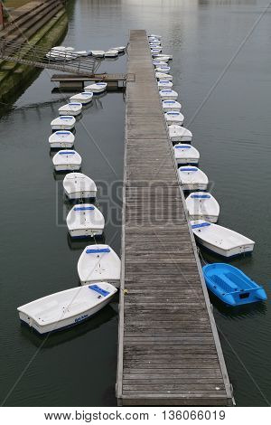 A row of rowing boats waiting for the rental of a lake