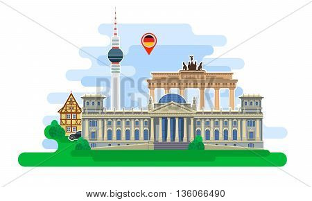 Concept of travel to Germany or studying German. German flag with landmarks. Excellent vacation in Germany. Cool trip to Germany. Fine travel to Germany. Time to travel. Tourism in Germany. Flat design, vector illustration