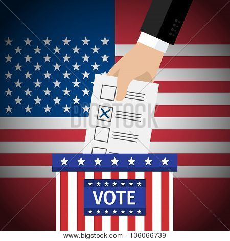 Concept of voting. US Presidential election 2016. Hand putting voting paper in the ballot box. Flat design, vector illustration.