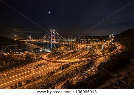 Beautiful Night Scenes Of Tsing Ma Bridge The Highway Road In Hong Kong