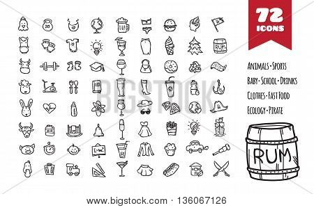 Vector doodle style big icons set. Hand drawn collection of baby goods, fashion, pirate, farm animals, drinks, fast food, ecology, education and sports objects.