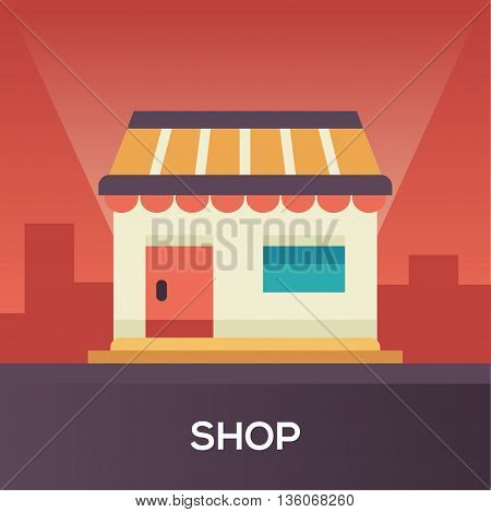 Store Front single isolated modern vector line design icon with a small shop