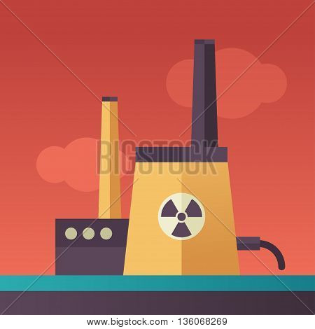 Power Station single isolated modern vector line design icon with atomic power station