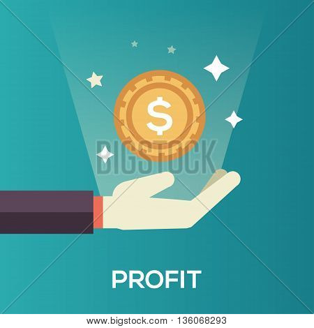 Profit single isolated modern vector line design icon with a hand and dollar coin