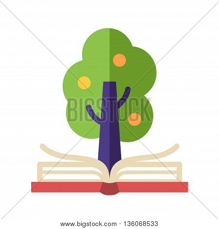 Learning and Knowledge single isolated modern vector flat design icon with open book and tree on it