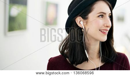 Woman Listening Music Media Traveling Concept