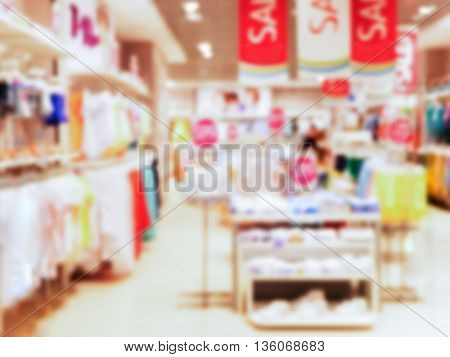 Abstrackt blurred of kids wear of departament store background with bokhe
