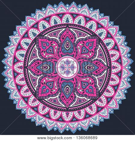Beautiful Indian floral ornament. Ethnic Mandala. Henna tattoo style.