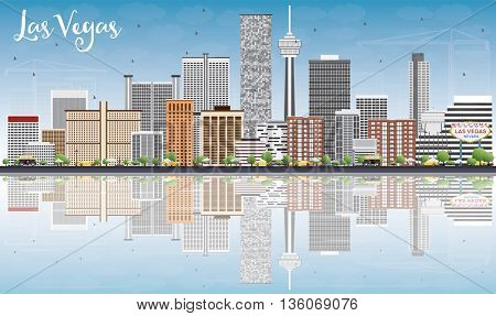 Las Vegas Skyline with Gray Buildings, Blue Sky and Reflections. Vector Illustration. Business Travel and Tourism Concept with Modern Buildings. Image for Presentation Banner Placard and Web Site.