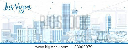 Outline Las Vegas Skyline with Blue Buildings. Vector Illustration. Business Travel and Tourism Concept with Modern Buildings. Image for Presentation Banner Placard and Web Site.