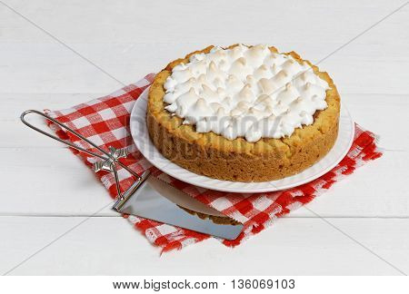 Sweet Cake With Strawberries Decorated With Meringue