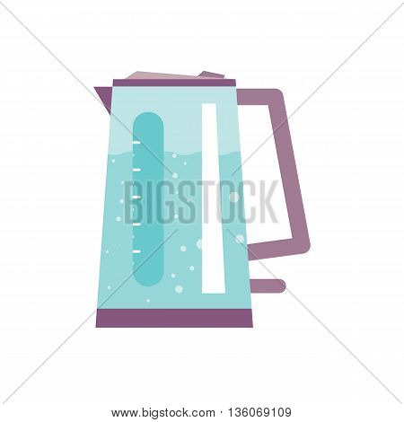 Boiling water in Electric kettle illustration. Hot teapot with air bubbles flat icon. Isolated kettle on white background.