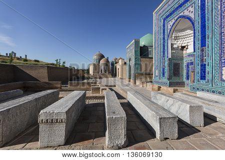 SAMARKAND, UZBEKISTAN - MAY 19, 2016: Holy cemetery of Shakhi Zinda in Samarkand, Uzbekistan.