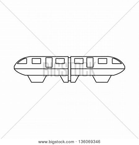 Monorail train icon in outline style isolated on white background