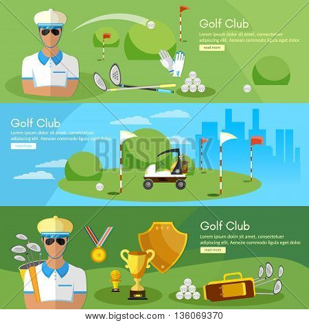 Golf banners elite golf club golfing elements game of golf man playing golf vector illustration