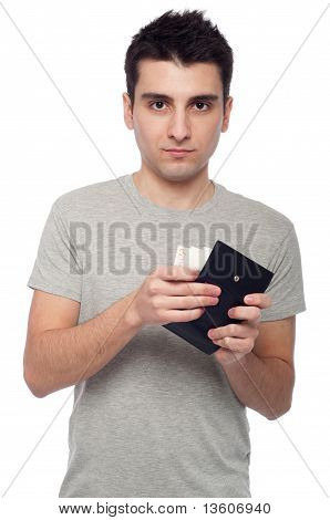 man showing his wallet