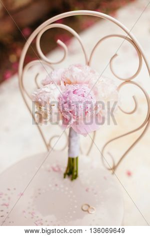 Gentle Wedding Bouquet Peonies With Rings