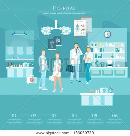Medicine banners infographics doctors and hospital interiors health service surgery operation room vector illustration