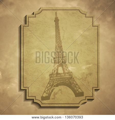 Paris in vintage style poster, vector illustration grange tag