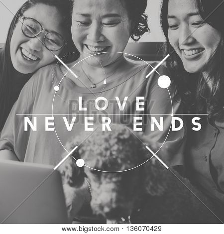 Love Never Ends Happiness People Graphic Concept