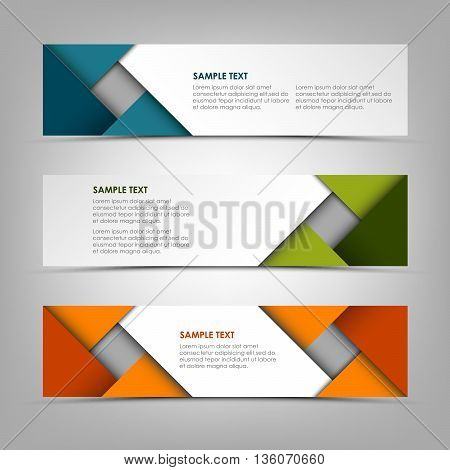 Collection banners with abstract colored triangles vector eps 10