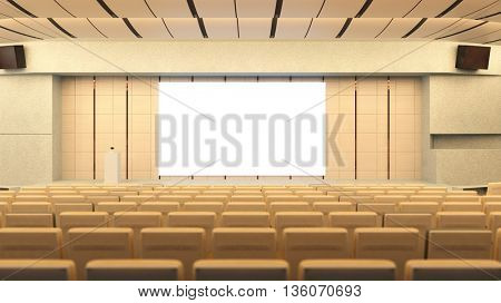Empty auditorium in conference hall with stage and canvas (3D Rendering)
