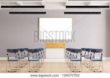 Presentation in business seminar room with many chairs (3D Rendering)