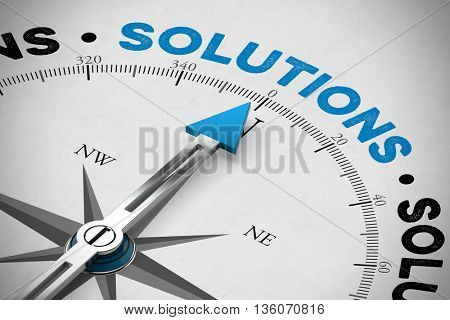 Arrow of compass pointing to the word Solutions (3D Rendering)