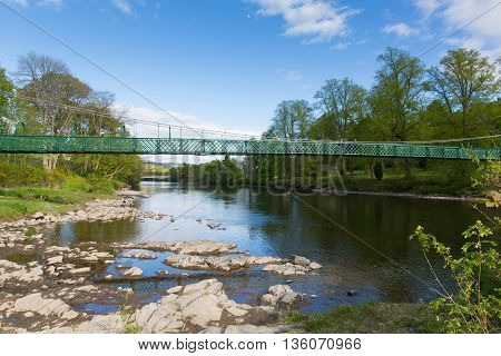 Pitlochry Scotland UK view of River Tummel in Perth and Kinross a popular tourist destination in summer