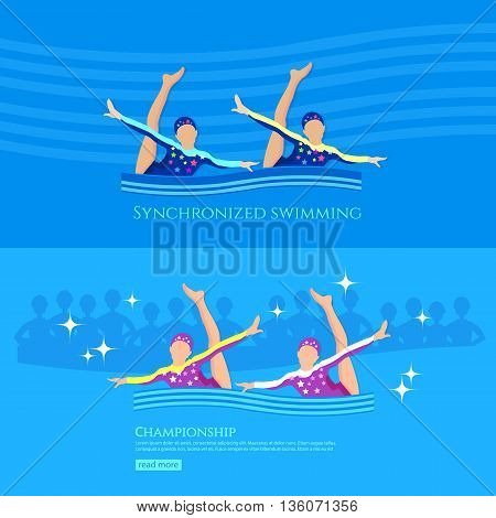Synchronized swimming banner girls team athletes swimming water sports vector illustration