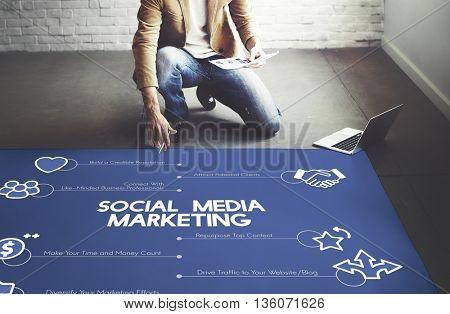 Social Media Marketing Connecting Internet Concept