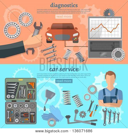 Car service banner mechanic auto service center tool box car repair car diagnostics tuning professional auto repair vector illustration