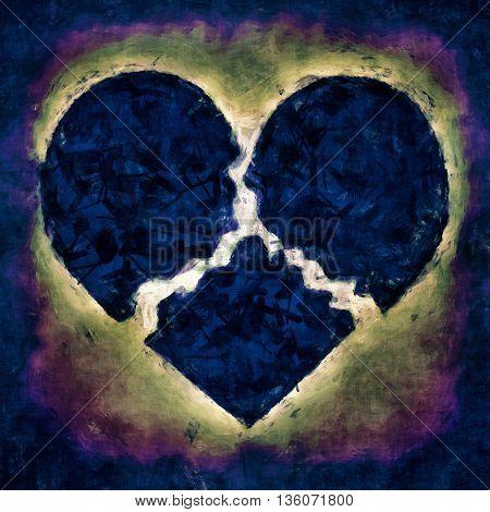 Dark Illustration of a sad broken heart