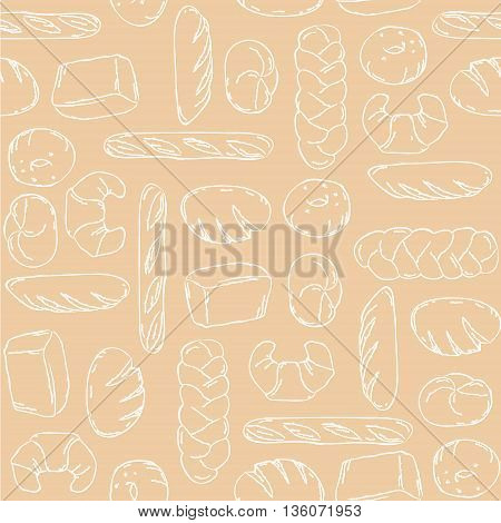 Vector. Bake, Bread mix seamless background. Good for packaging, wrapping paper or other accessories for bakery. Beige and white pattern.