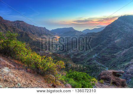 Mountains of Gran Canaria island at dusk, Spain