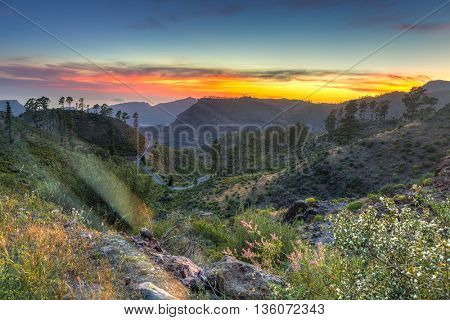 Mountains of Gran Canaria island at sunset, Spain