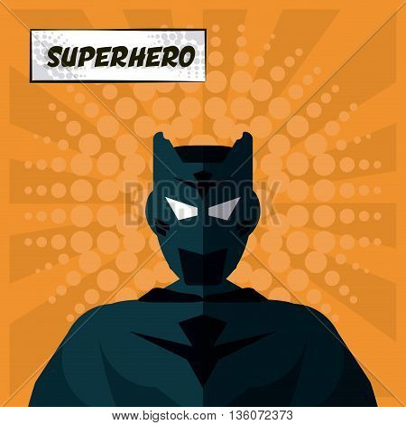 Superhero concept represented by male cartoon with disguise. Colorfull and flat illustration. Orange background