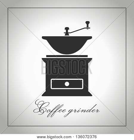 Coffee grinder. Coffee mill silhouette. Kitchen equipment icon. Coffee accessories. Isolated illustration. Vector. Graphic coffee grinder