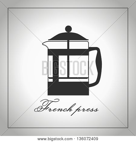 French press coffee maker silhouette. Isolated illustration. Vector.