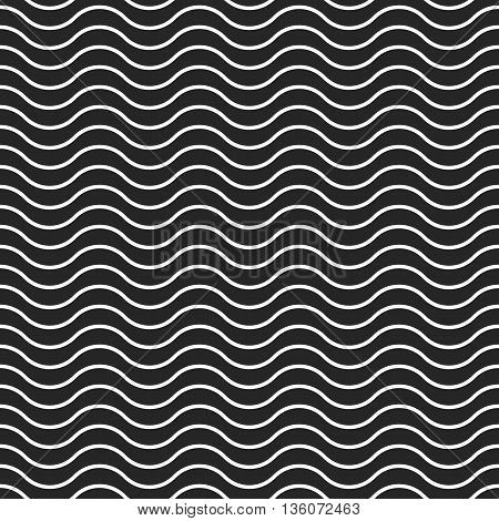 Wave background vector seamless pattern, black and white monochrome waves lines, abstract waved geometric backdrop texture illustration