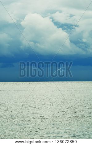 storm with lightning over the sea, inspring