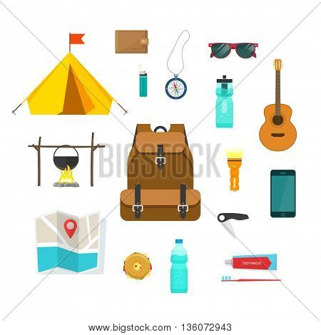 Tourist backpack with things to travel with isolated vector illustration, items collection for camping, hiking and recreation activity, things for tourism, tourist tent, map, compass, equipment