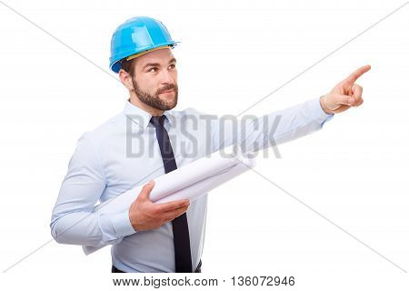Architect With Hard Hat And Plan Showing Empty Copyspace On White Background
